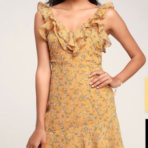 Spring Dream Mustard Yellow Floral Print Dress